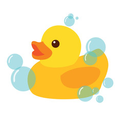 Yellow Rubber Duck Icon Vector Illustration Clipart