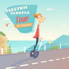 Banner for self-balancing electric scooter.