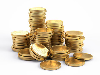Banking and finance concept - Gold coins isolated on white background. 3d illustration