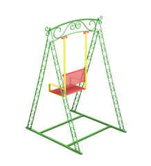 Swings for kids isolated on white background. 3d rendering