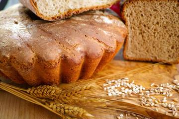 Freshly baked homemade sourdough spelt bread