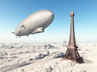 Zeppelin und Eiffelturm über den Wolken