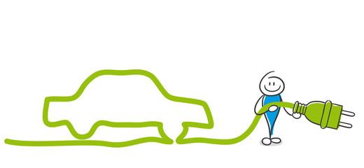 Stick Figure Series Blue / Ökoauto, Elektromotor