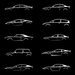 Concept supercar, sports, sedan car and muscle car, motor vehicle silhouette collection set on black background. Vector illustration..Part  №2.