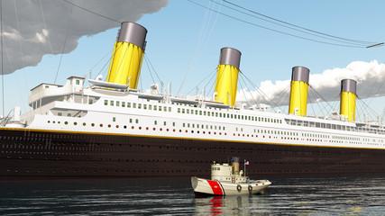 Ozeandampfer und Schiff der Küstenwache