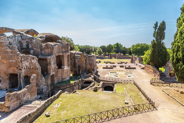 Tivoli, Italy. The ruins of the Great term at the villa of Hadrian, 118 - 134 years. UNESCO list