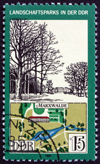 Fotobehang Graffiti collage Postage stamp Germany 1981 View and Map of Marxwalde Park, Germa