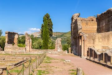 Villa Adriana in Tivoli, Italy. The ruins of buildings in the Golden Square. UNESCO list