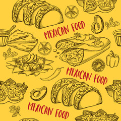 Mexican food seamless pattern background.