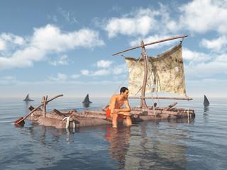 Mann auf einem Floß umgeben von Haifischen