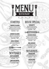 Menu cafe restaurant, template placemat. Food board design.