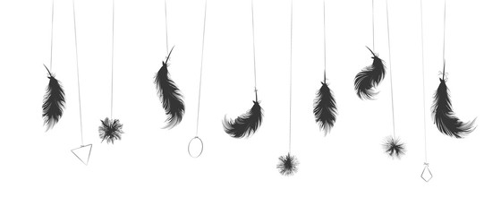 Boho style hanging feathers and pompoms. isolated on white. Illustration. Vector.