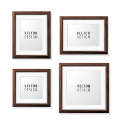 Set of Realistic Minimal Isolated Wood Frames on White Background for Presentations. Vector Elements.
