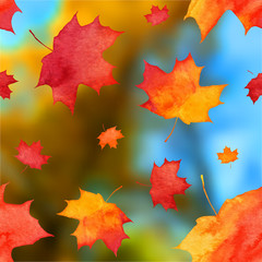 Vector autumn watercolor leaves on blurred background