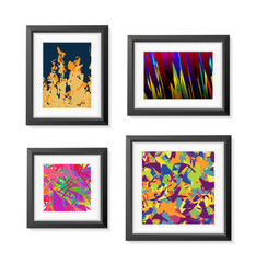Set of Realistic Minimal Isolated Black Frame with Abstract Art Scene on White Background for Presentations. Vector Elements.