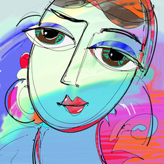 beautiful women digital painting, abstract portrait of girl with
