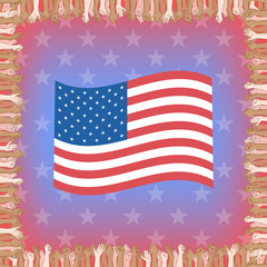 Happy Independence Day greeting card. 4th of July vector design element. Independence Day background. Multinational crowd of people and waving US flag