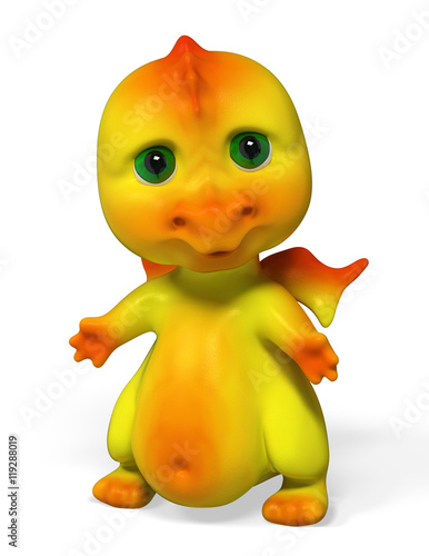 Funny small  dragon character 3d rendering