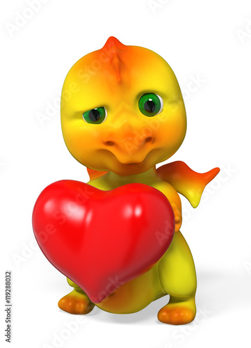 Dragon character holding heart 3d rendering