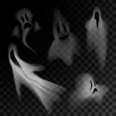 Ghost silhouette isolated on transparent background.