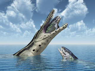 Kronosaurus attacks Rhizodus