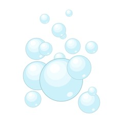 Soap bubbles isolated on white background. Water bubble washing in flat style