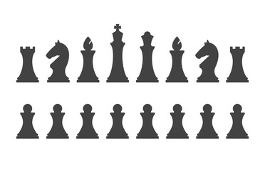 Set chess pieces isolated on white background. Chess pieces including the king, queen, bishop, knight, rook and pawn in flat style.