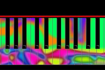 Multicolored keys of the piano