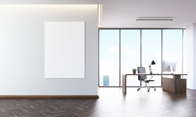 Office interior with poster