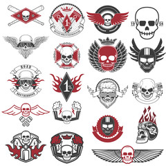 Set of biker labels and emblems. Motorcycle racing.
