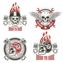 Speed racer. Born to ride. Set of emblems with human skulls in r