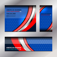 USA Banners Template Design, vector illustration