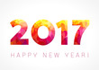 Detaily fotografie 2017 happy new year red card. Happy holidays card with red color facet figures 2017 and greeting text