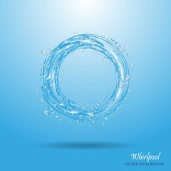 Water circle. Whirlpool, realistic water droplets. Vector illustration