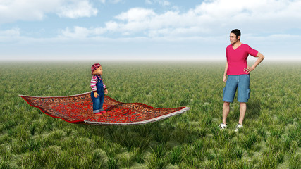 Kind auf fliegendem Teppich und Mann