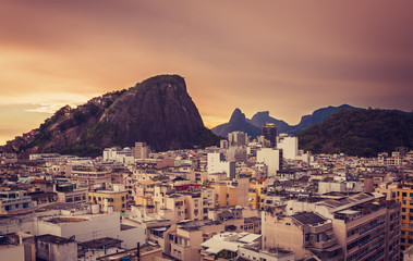 Buildings and rooftops of Rio De Janeiro in sunset light