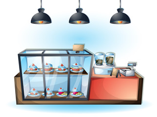 cartoon vector illustration interior cafe object with separated layers