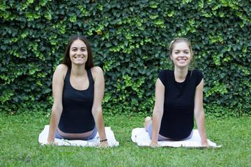 stretching yoga girls beautiful happiness