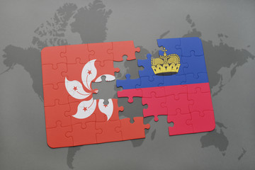 puzzle with the national flag of hong kong and liechtenstein on a world map background.