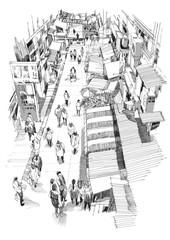 hand drawn sketch of people walking in market street,Illustration,drawing