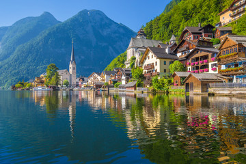 Hallstatt mountain village in the Alps, Salzkammergut, Austria