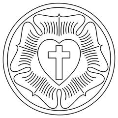 Lutheran Rose Emblem (Luther Seal), Contour version