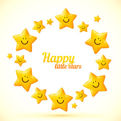 Cute little smiling stars vector frame