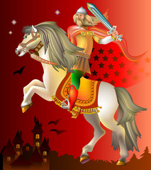 Illustration of  medieval knight riding on horse, vector cartoon image.