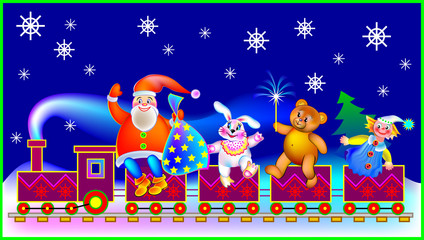 Christmas greeting card with Santa Claus and funny toys, vector cartoon image.