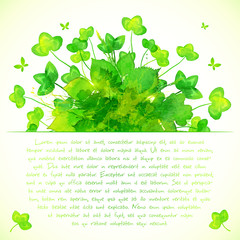 Green watercolor painted summer clover leaves background