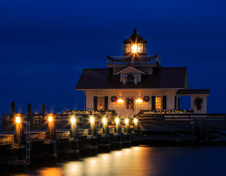 Manteo Marshes Light Lighthouse at night blue hour
