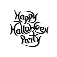 Message Happy Halloween Party on white background.Vector illustr