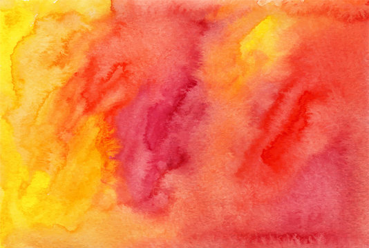 Orange and red watercolor painted background