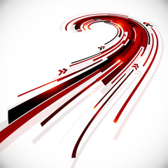 Abstract black and red perspective vector background